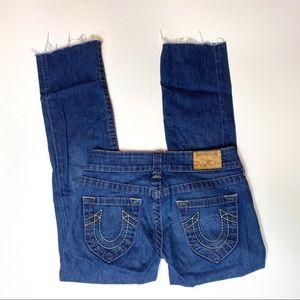 True Religion cropped straight jeans sz 27